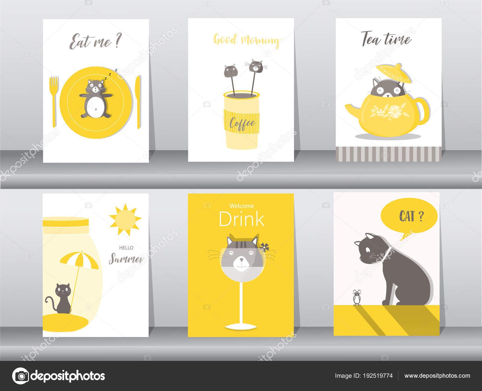 かわいい動物ポスター、テンプレート、カード、猫、食べ物、お菓子、漫画