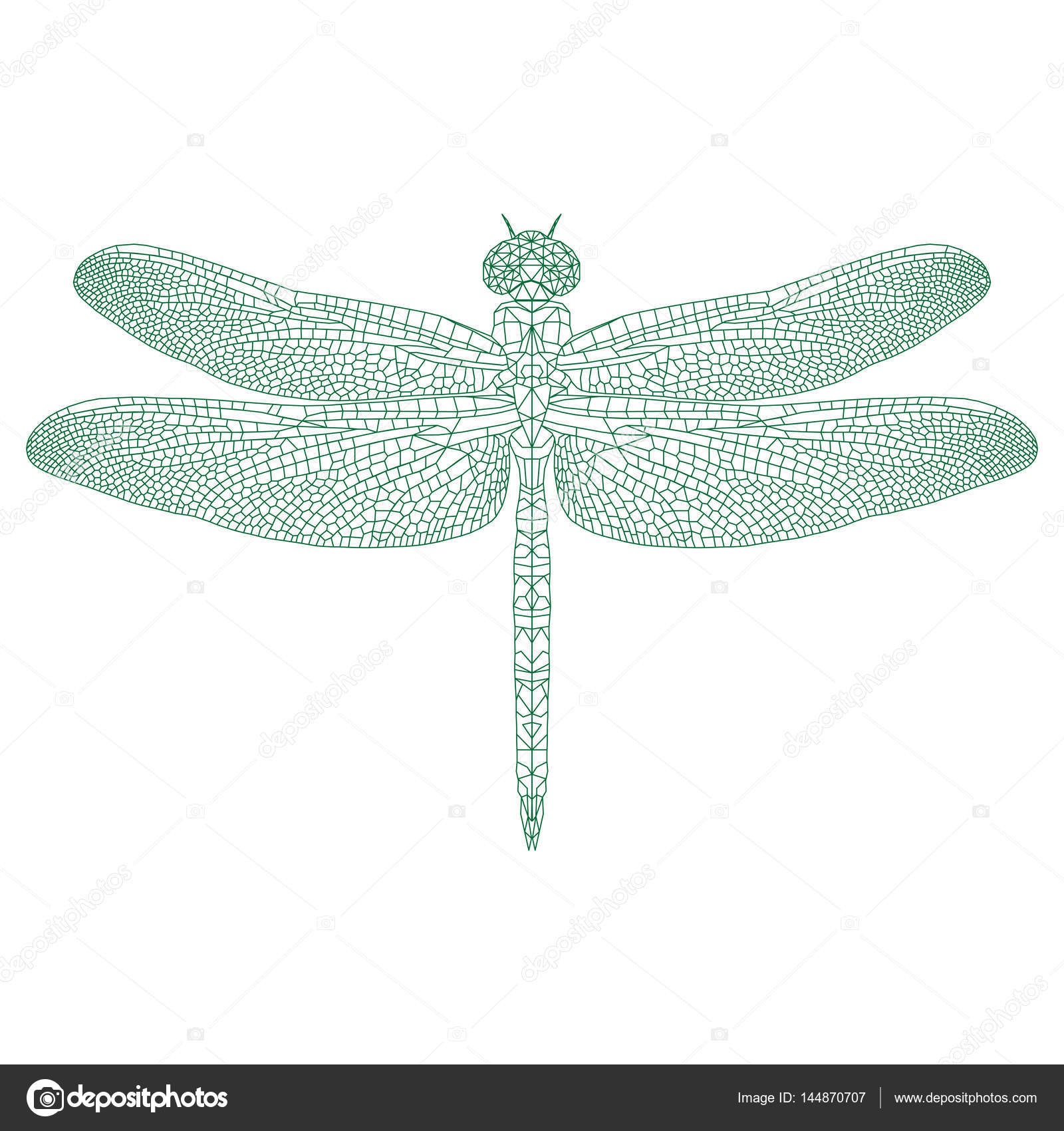 libélula de mosaico de color y diseño — Vector de stock ...