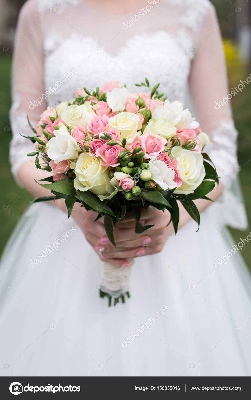 Bridal Bouquet With White And Pink Roses Wedding The Bride In