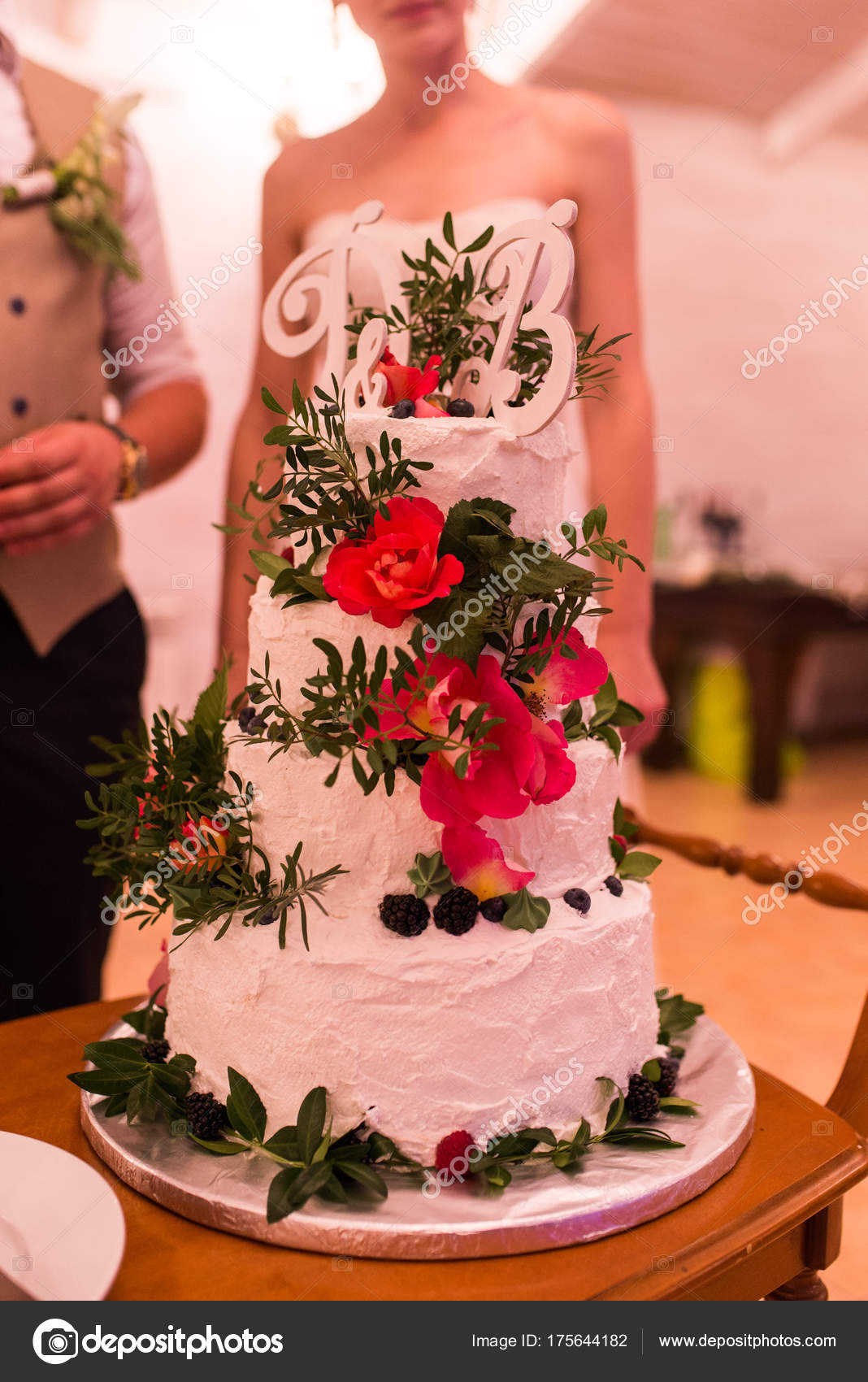 Beautiful Four Tiered White Wedding Cake Pink Flowers Greenery