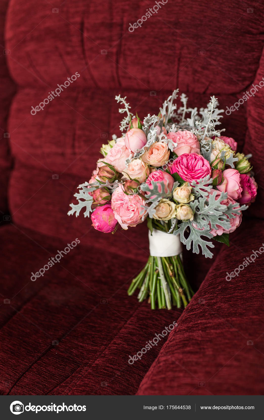 Wedding Bouquet Purple Pink Roses Lying Red Armchair Stock Photo
