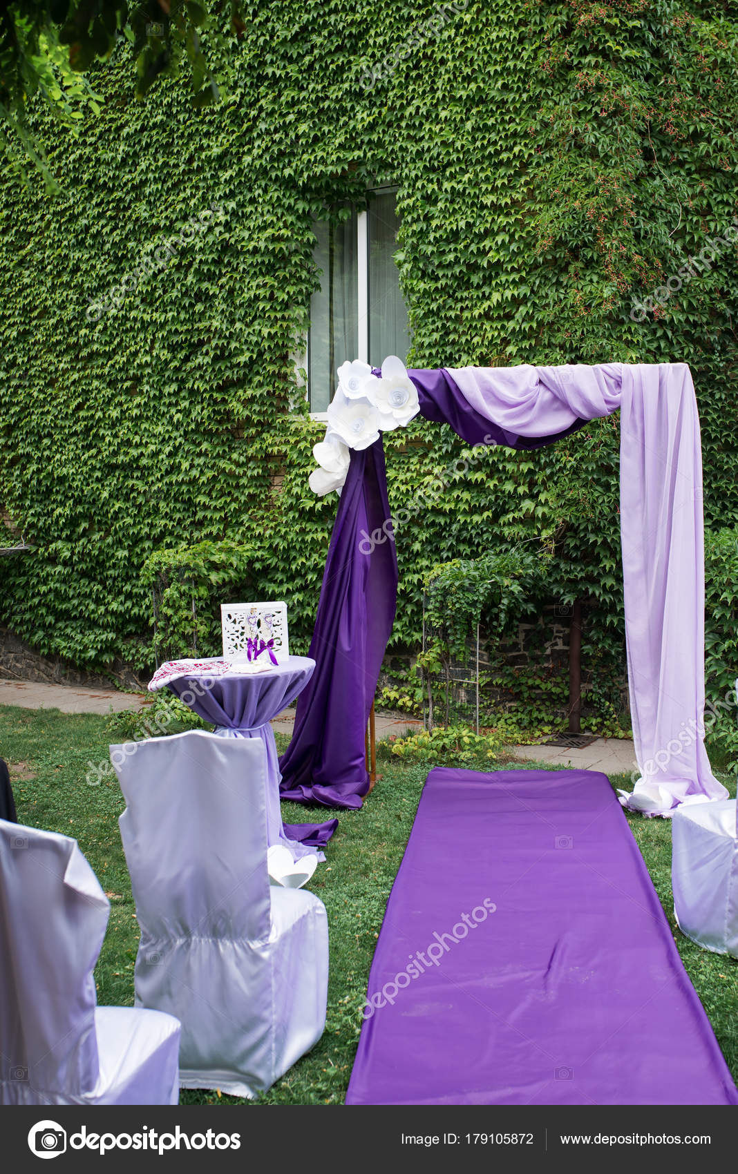 Purple Wedding Arch Decorated Paper Flowers Lilac Purple Material