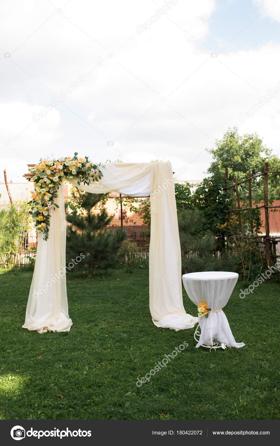Open Air Decorated Area Wedding Ceremony Wooden Arch Decorated Fresh ...