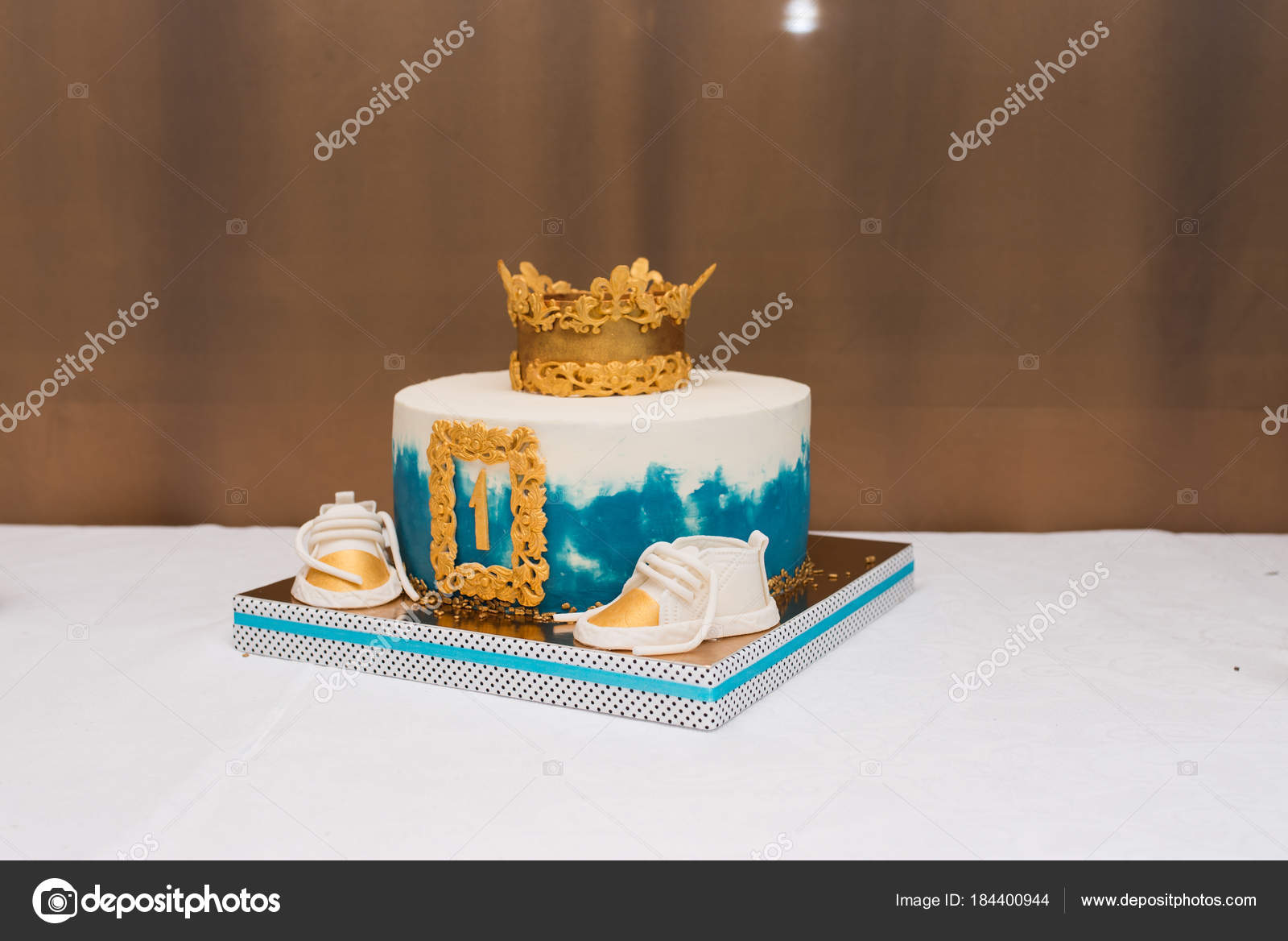 Remarkable Birthday Cake For Boy 1 Year Birthday White Blue Cake Year Old Funny Birthday Cards Online Sheoxdamsfinfo