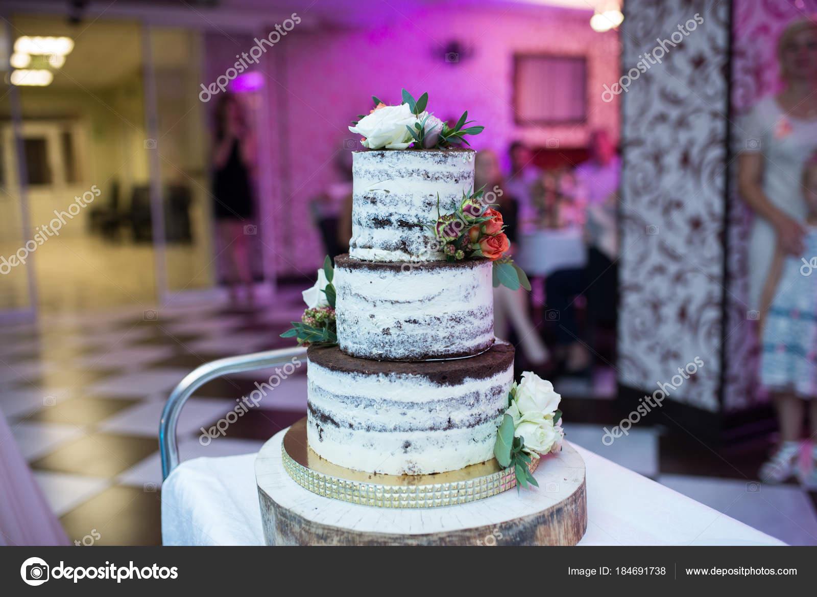 Hochzeitstorte Rustikalen Stil Drei Abgestufte Schokolade Keks