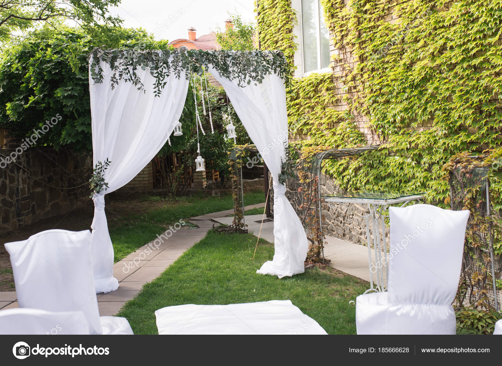 Wedding Arch Decorated White Material Lot Greenery Beautiful ...