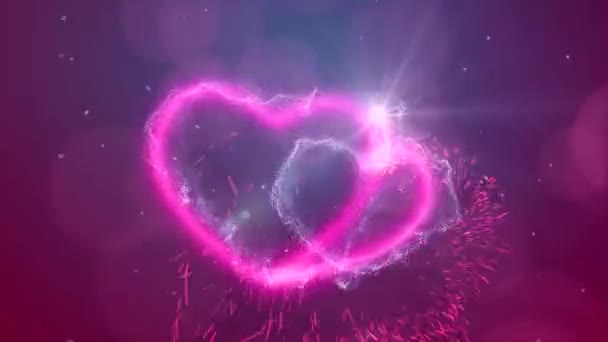 Happy valentines day greetings. Drawing of two hearts with sparks on a dark background