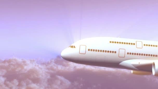 Großes Düsenflugzeug fliegt auf einem Wolkenhintergrund