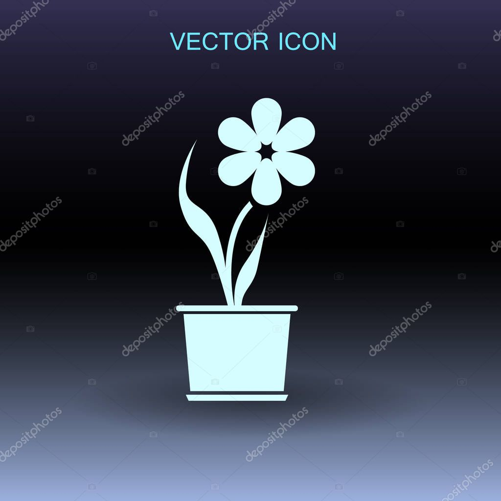 potted plant flower icon vector illustration