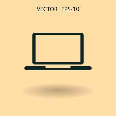 Flat icon of laptop. vector illustration
