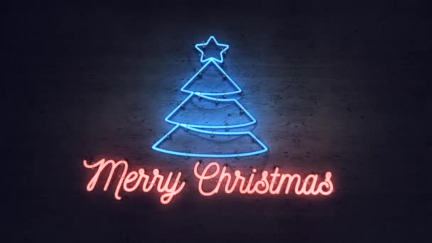 Bright neon sign with christmas tree icon and Merry Christmas greetings on a grunge wall
