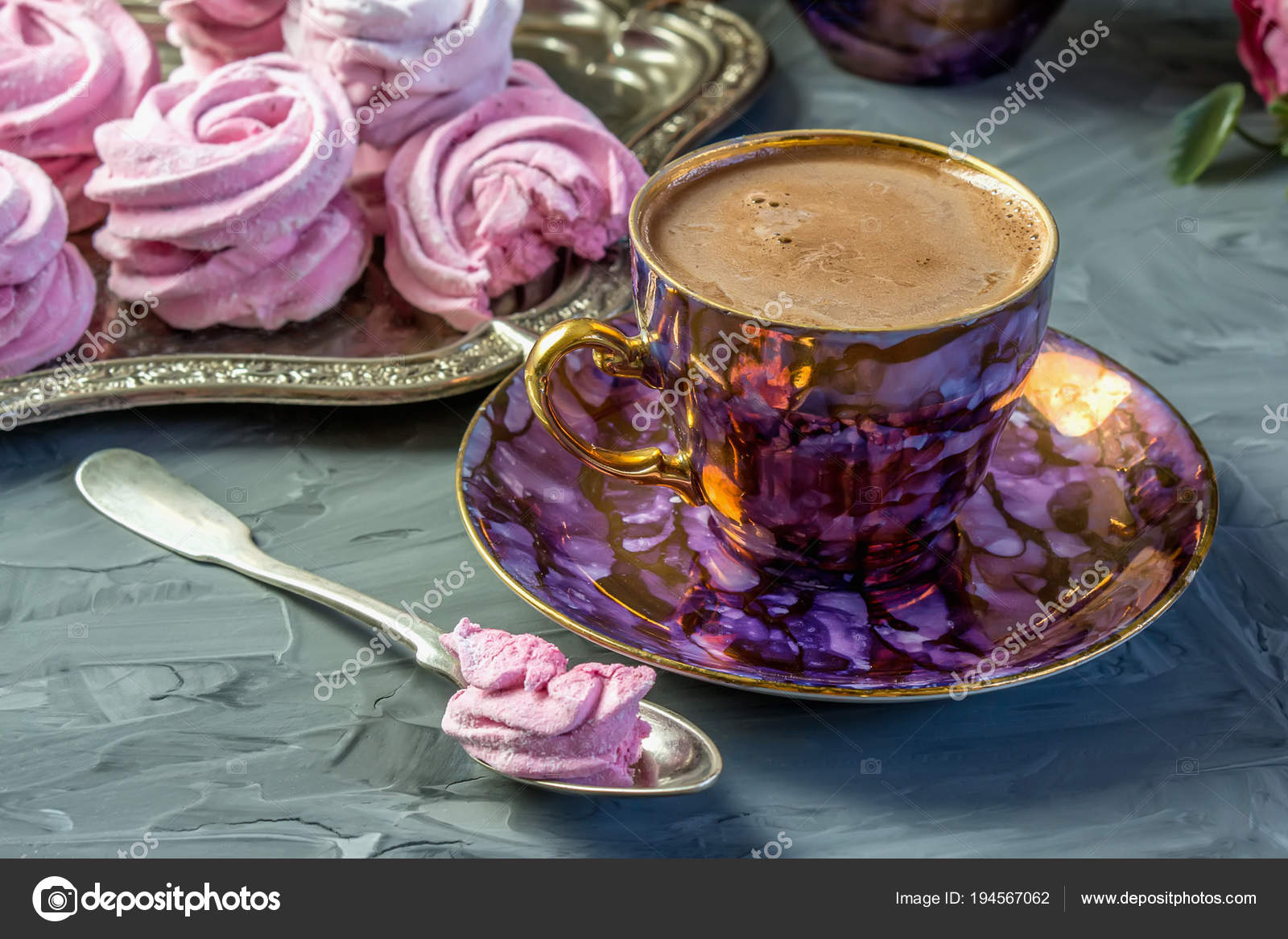 Hot Chocolate In A Beautiful Golden Cup With A Pink Marshmallow Home