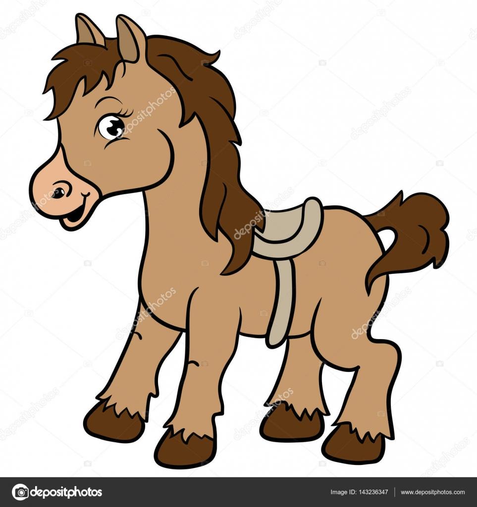 Dibujos animados animales de granja. Sonrisas de caballo lindo ...