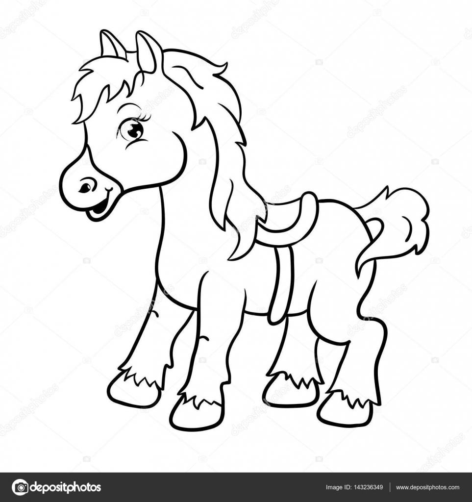 Cartoon Farm Animals Cute Horse Smiles Eps 10 Vector Illustration Stock Vector C Littleblackhorse 143236349