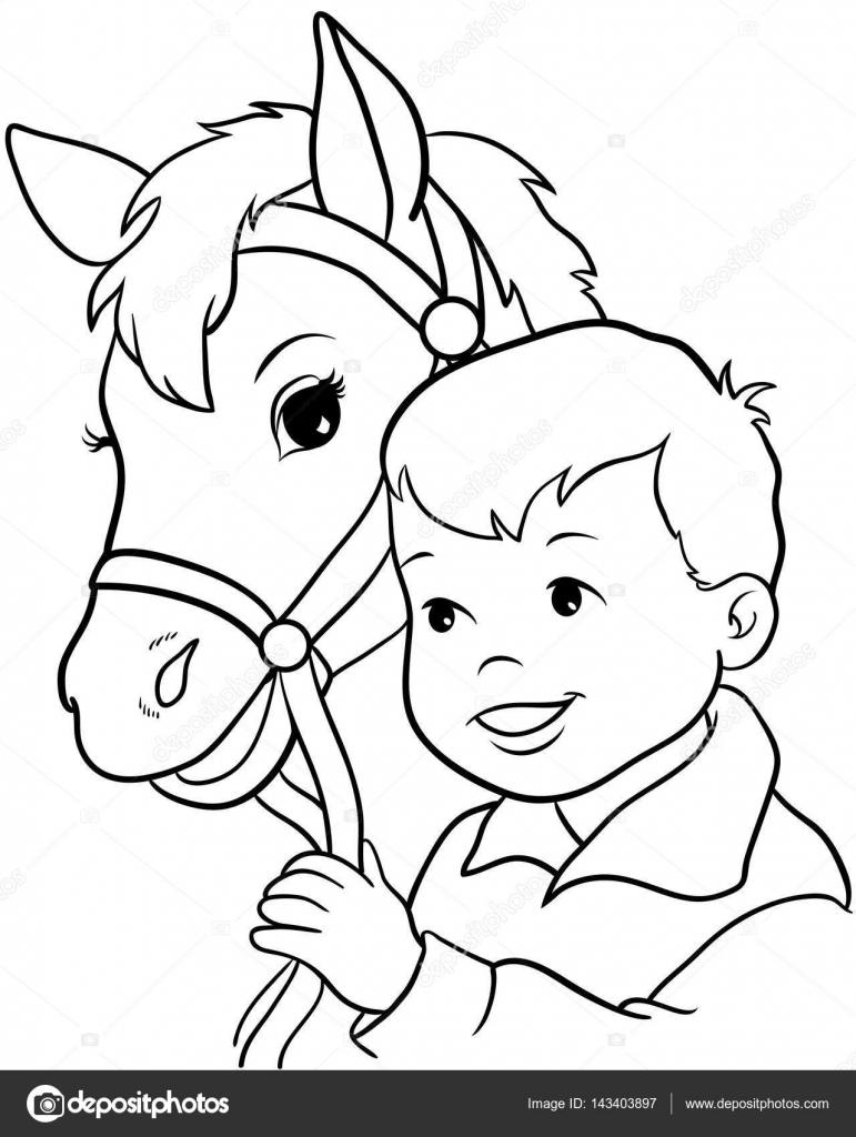 paard met zadel en hoofdstel kleurplaat
