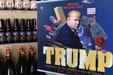 A label of beer featuring President of the US Donald Trump called