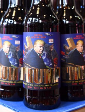 Lviv, Ukraine - May 20, 2017: A bottles of beer featuring US President Donald Trump  called