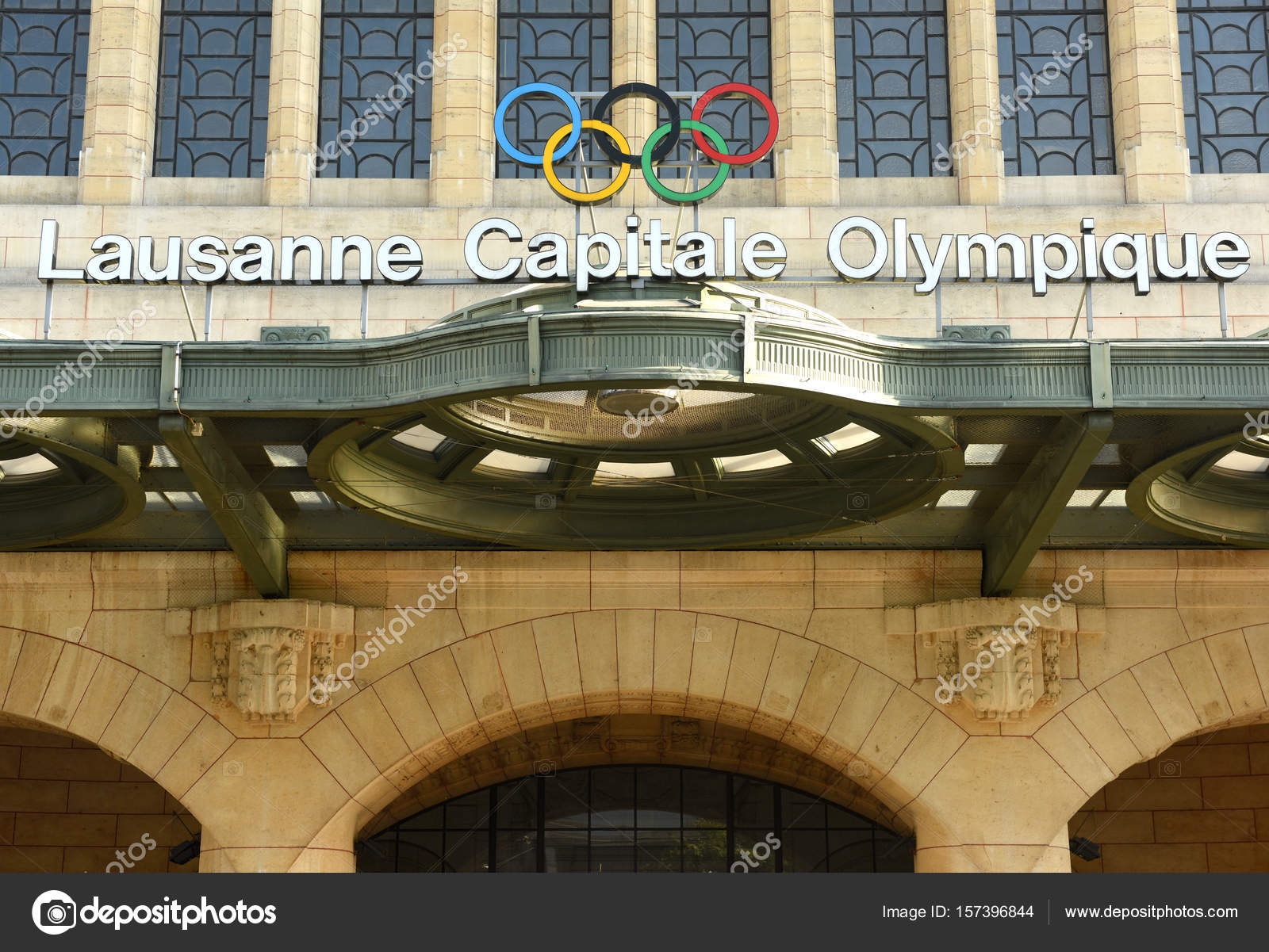 Olympic rings and words 'Lausanne Capitale Olympique' at the main