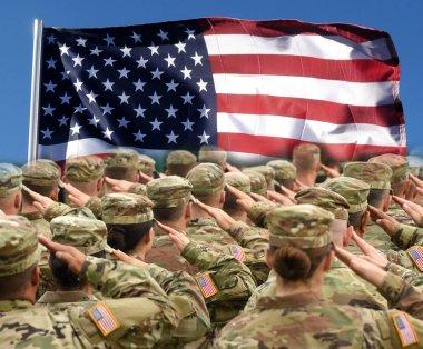 American Soldiers Saluting US Flag, patriotic concept