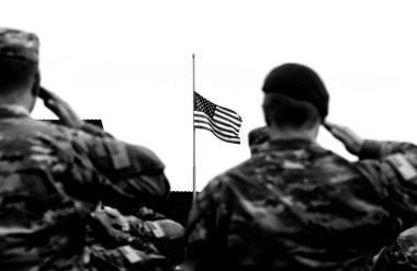 American Soldiers Saluting US Flag. US Army. US troops.