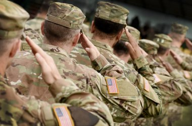US soldier salute. US army. US troops. Military of USA. Veterans