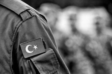 Turkish flag on Turkey army uniform. Turkey troops.