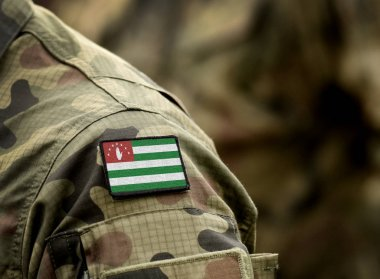Flag of Republic of Abkhazia on military uniform. Army, armed fo
