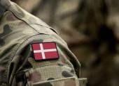 Flag of Denmark on military uniform.
