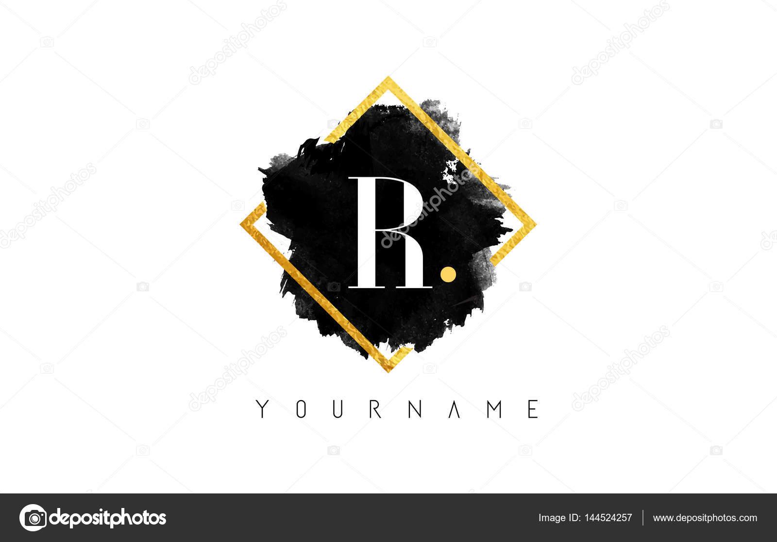 Projektowanie Logo Litera R Z Czarny Obrys I Złotej Ramie Grafika
