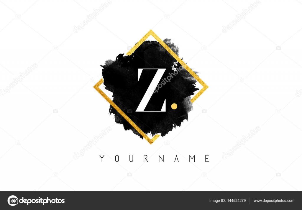 Z-Brief-Logo-Design mit schwarzer Strich und Goldrahmen ...