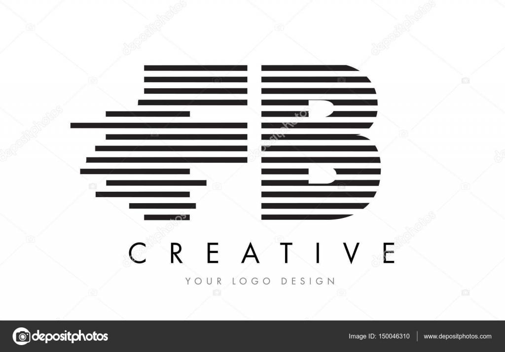Fb F B Zebra Letter Logo Design With Black And White Stripes Stock