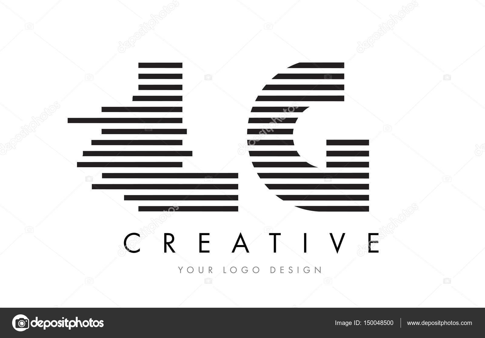 LG L G Zebra Letter Logo Design with Black and White Stripes
