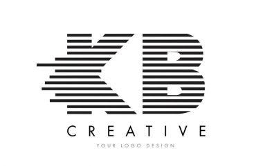 KB K B Zebra Letter Logo Design with Black and White Stripes