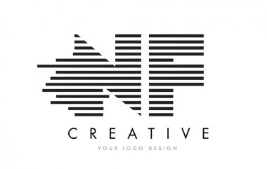 NF N F Zebra Letter Logo Design with Black and White Stripes