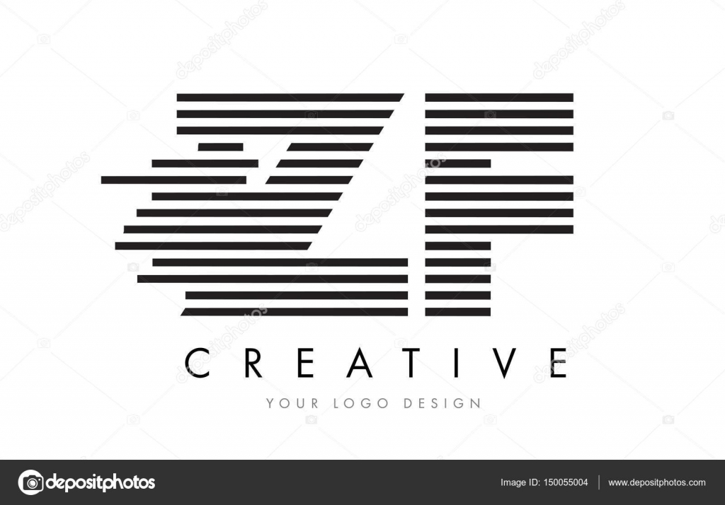 Zf Z F Zebra Letter Logo Design With Black And White Stripes Stock