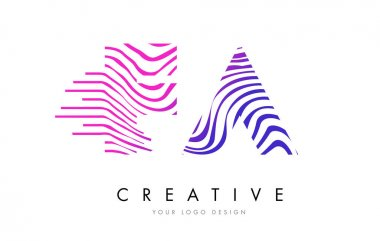FA F A Zebra Lines Letter Logo Design with Magenta Colors