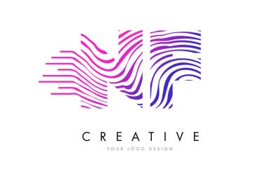 NF N F Zebra Lines Letter Logo Design with Magenta Colors