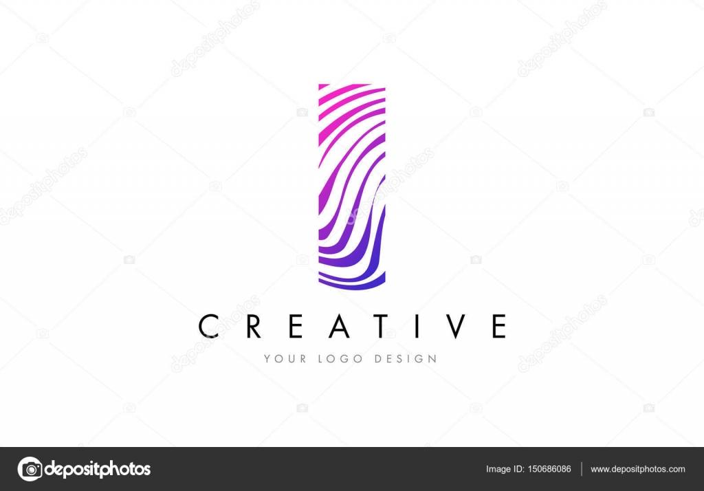 Ich Zebra Linien Brief Logo-Design mit Magenta Farben — Stockvektor ...