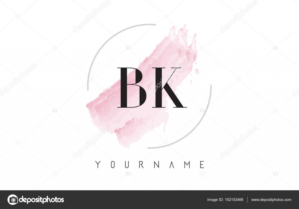 Bk B K Watercolor Letter Logo Design With Circular Brush