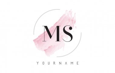 MS M S Watercolor Letter Logo Design with Circular Brush Pattern