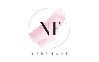 NF N F Watercolor Letter Logo Design with Circular Brush Pattern