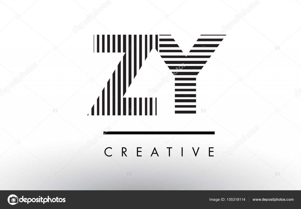 斉次 Z Y 白と黒線文字ロゴ デザ...