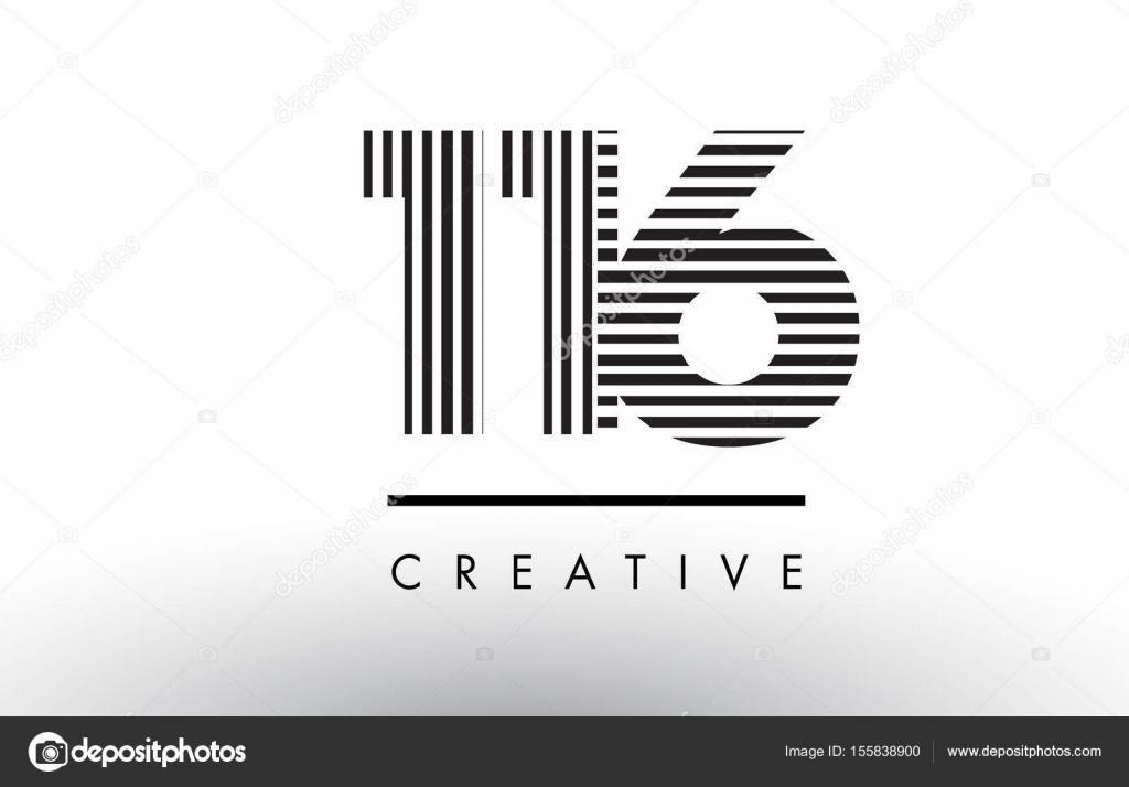116 Schwarz Weiß Zeilen Nummerieren Logo Design Stockvektor