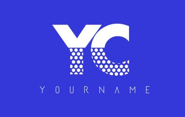 YC Y C Dotted Letter Logo Design with Blue Background.