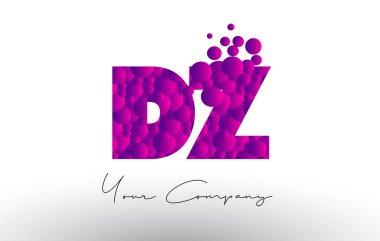DZ D Z Dots Letter Logo with Purple Bubbles Texture.