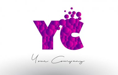 YC Y C Dots Letter Logo with Purple Bubbles Texture.
