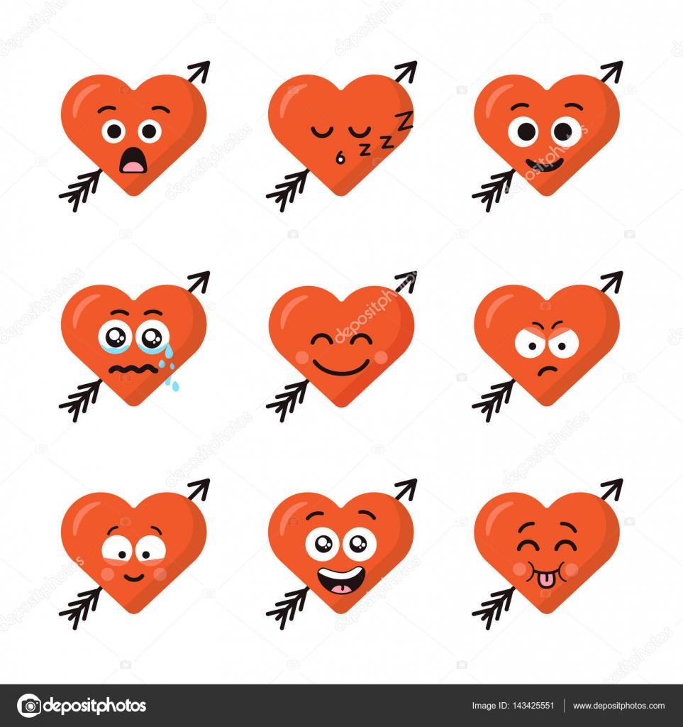conjunto de coraz n de diferentes emoticonos emoji se enfrenta con flecha aislado sobre fondo. Black Bedroom Furniture Sets. Home Design Ideas