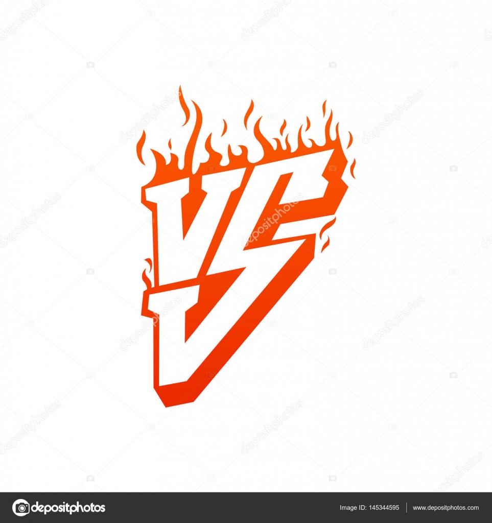Frente con letras de fuego marcos de y vs. Contra llamas de duelo y ...