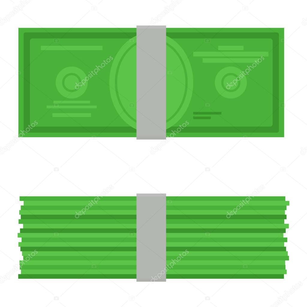 Money vector illustration. Top and ront view single flock of cash flat icon. American dollars, pack, packet. Modern design isolated on white background