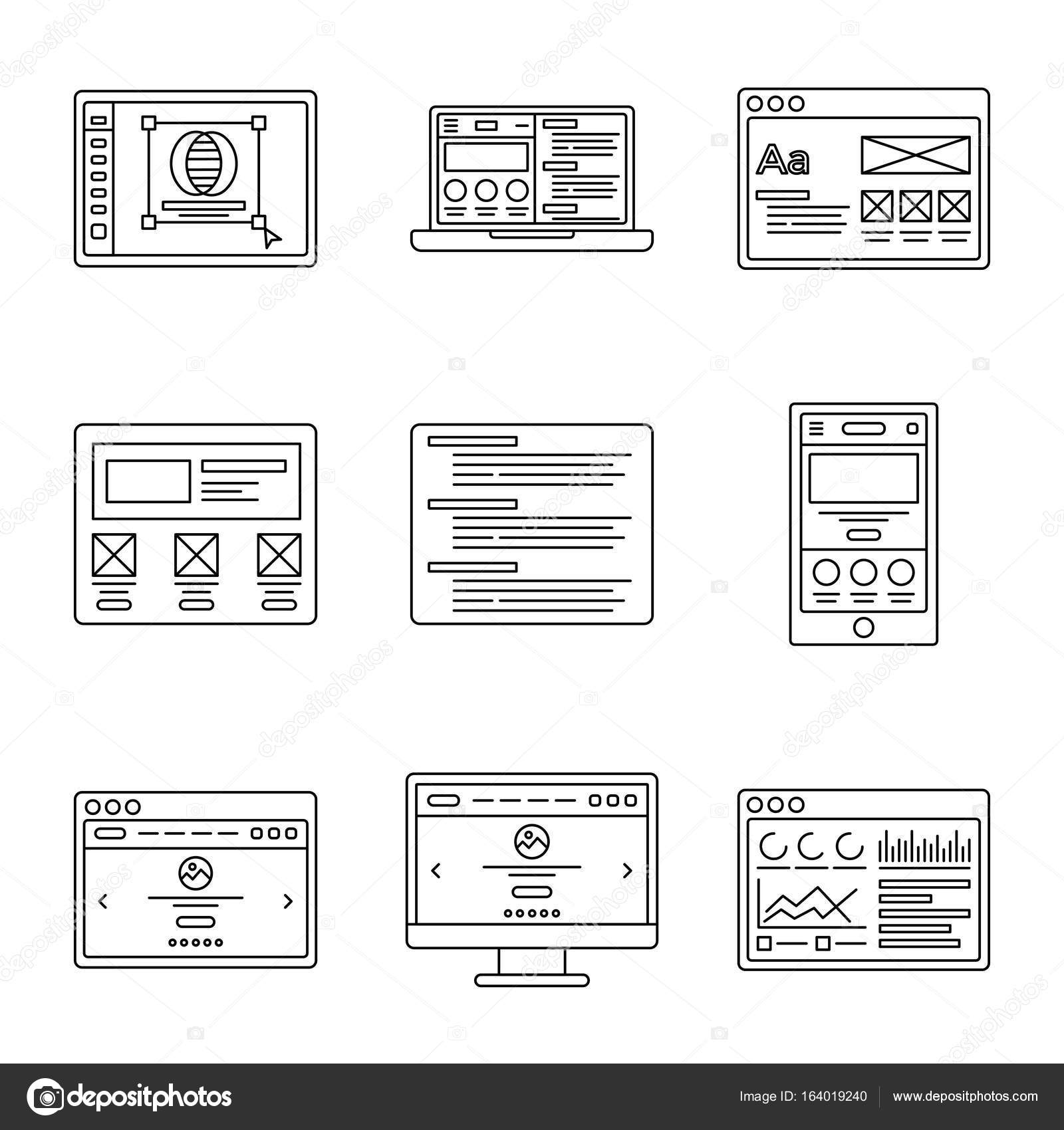 Web development and wireframes line icons set. Collection of outline ...